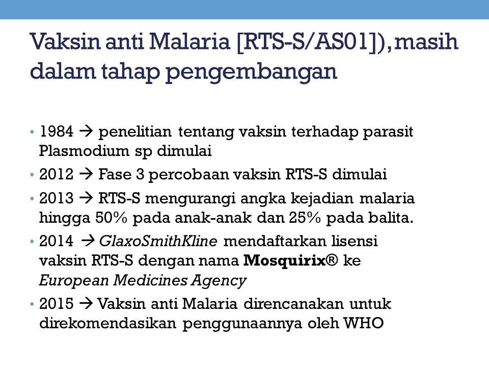 Vaksin anti Malaria [RTS-S/AS01]), masih dalam tahap pengembangan